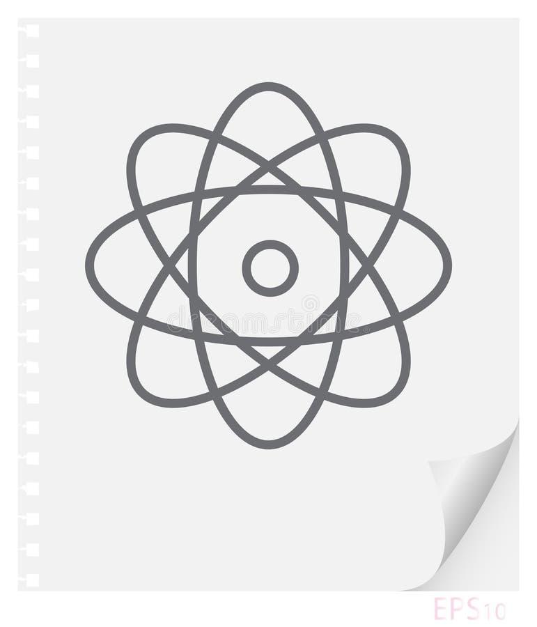 Vector lineaire illustratie van een atoom met elektronen op een blad van document met een gebogen hoek en gaten van de lentes, ee stock illustratie