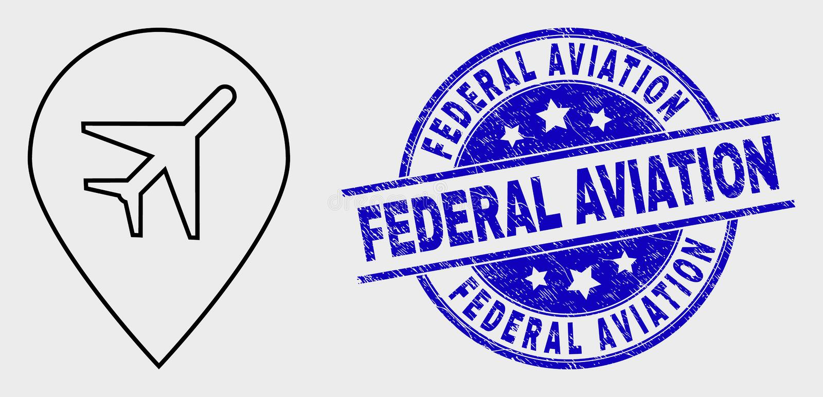 Vector Contour Airport Map Marker Icon and Scratched Federal Aviation Stamp. Vector linear airport map marker icon and Federal Aviation seal stamp. Blue rounded stock illustration
