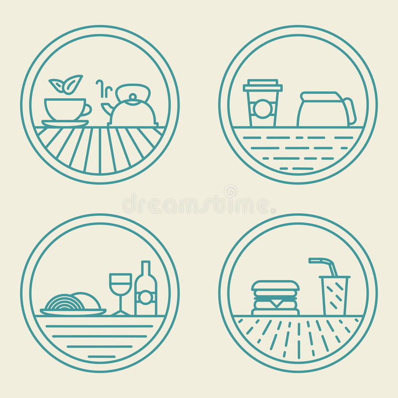 Vector linear badge templates fast food concept in vector illustration