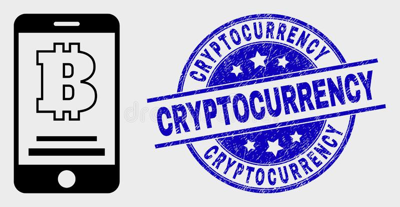 Vector Linear Bitcoin Mobile Account Icon and Grunge Cryptocurrency Stamp Seal stock illustration