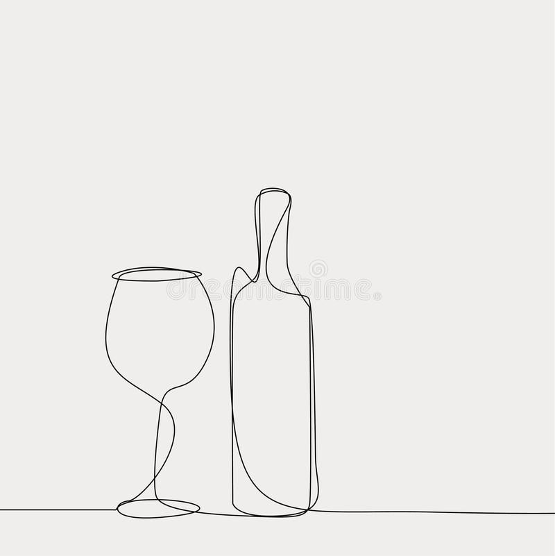 Vector linear of wine bottle and glass. vector illustration