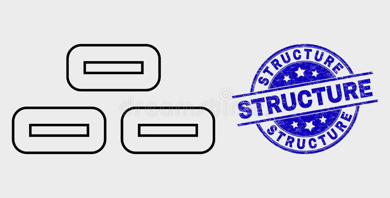 Vector Linear Bricks Icon and Scratched Structure Stamp vector illustration