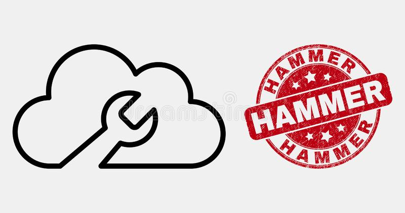 Vector Line Cloud Wrench Icon and Scratched Hammer Watermark stock illustration