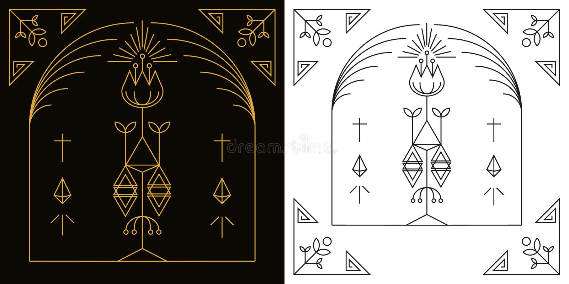 Vector linear del marco del arte del estilo stock de ilustración