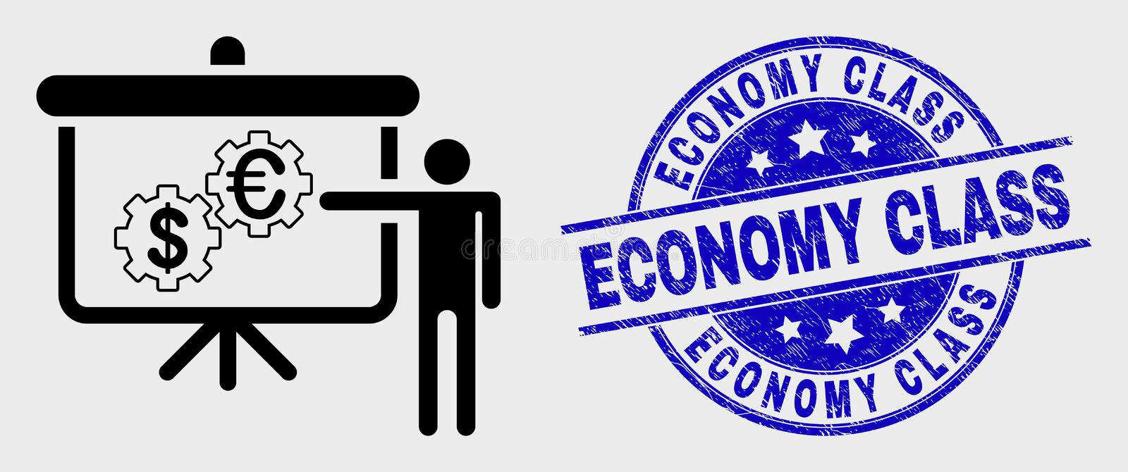 Vector Linear Financial Engine Presentation Icon and Scratched Economy Class Seal royalty free illustration