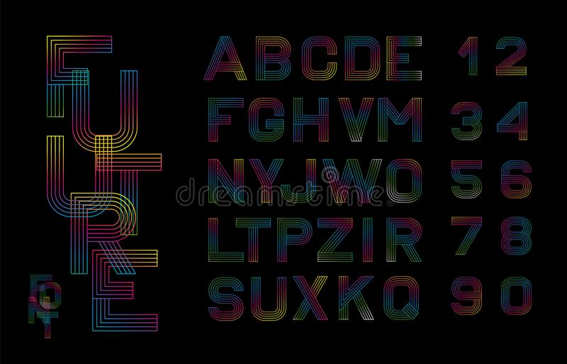 Vector linear font. Alphabet multicolored lines. Simple and minimalist alphabet in mono line style.Digital alphabet royalty free illustration