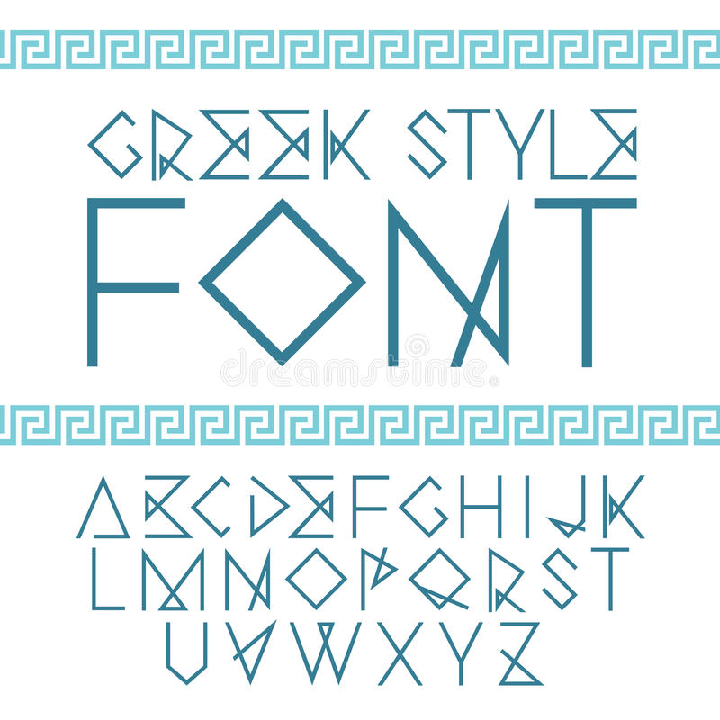 Vector linear font. Greek style with ornament vector illustration