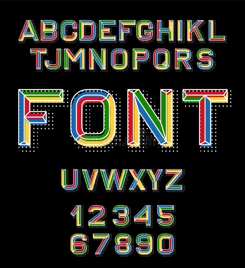Vector linear font. 80 s retro alphabet font. Color alphabet in retro style for the design of your project. Vector stock illustration