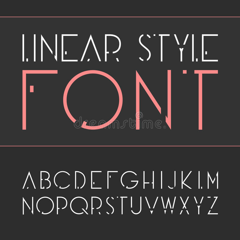 Vector linear font - simple and minimalistic alphabet in line style . stock illustration