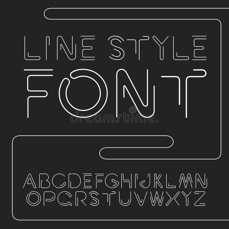 Vector linear font - simple and minimalistic alphabet in line style royalty free illustration