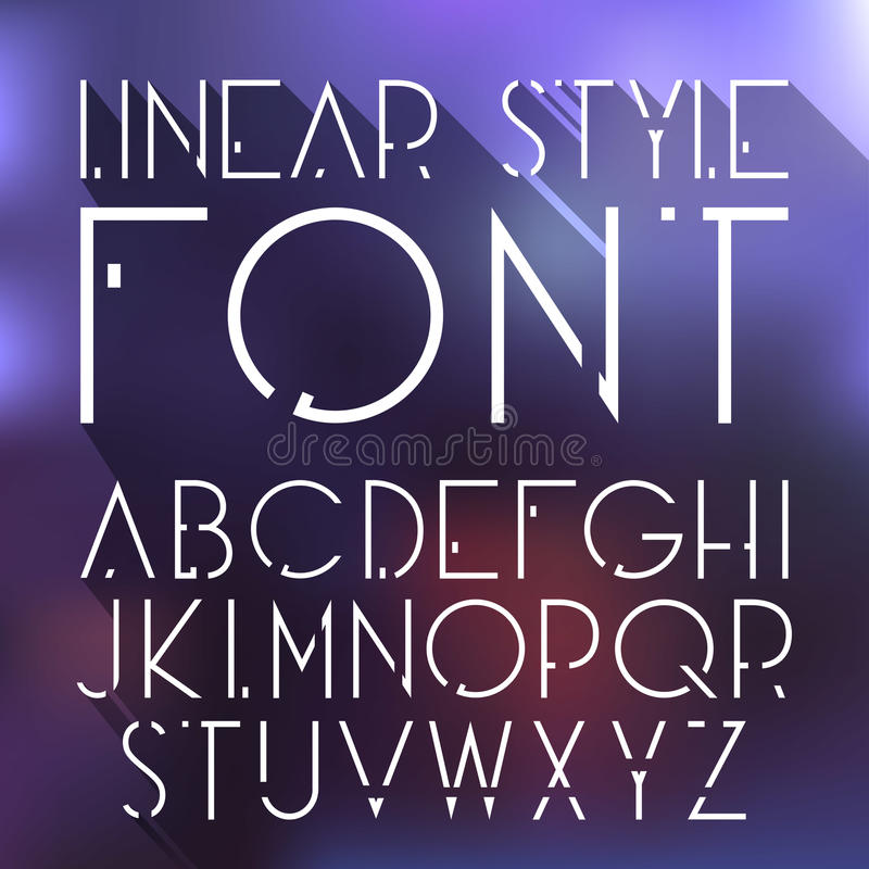 Vector linear font - simple and minimalistic alphabet in line style stock illustration