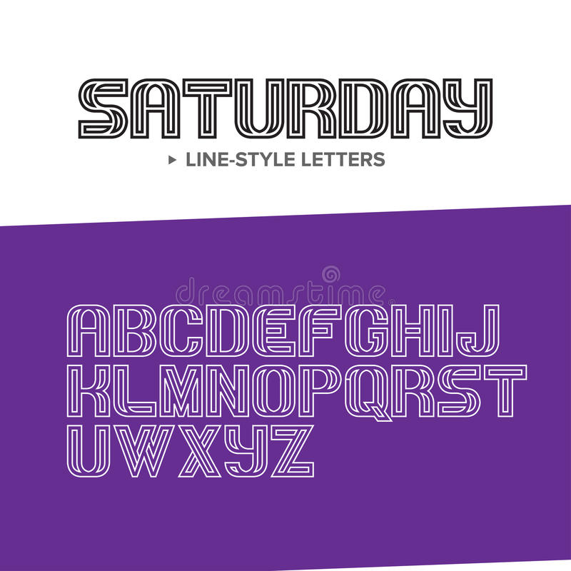 Vector linear font - simple and minimalistic alphabet in mono line style - typography design elements. stock illustration