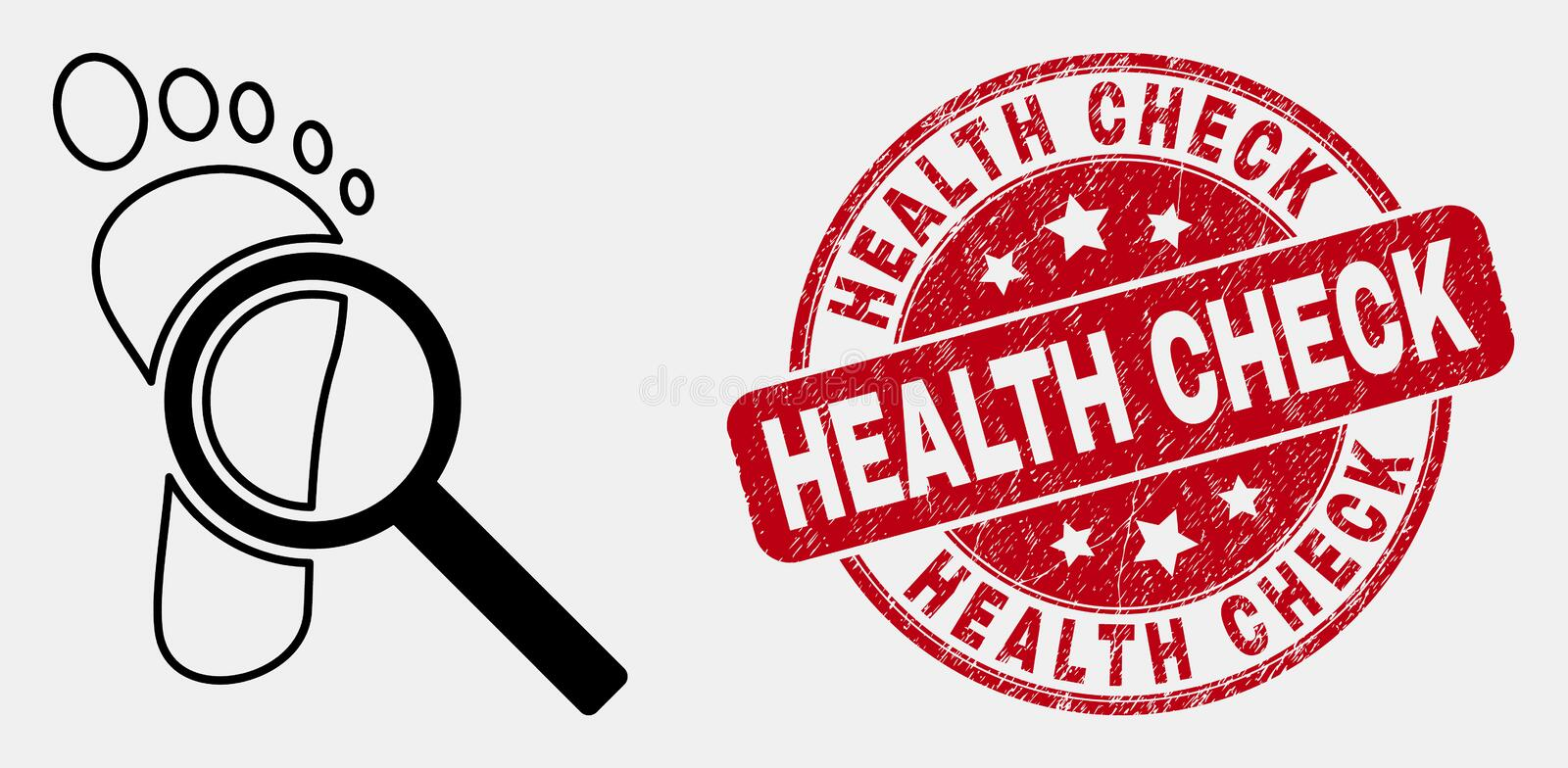 Vector Stroke Footprint Audit Magnifier Icon and Grunge Health Check Stamp royalty free illustration