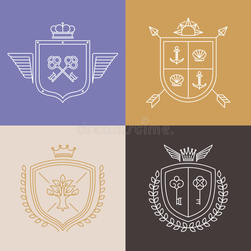 Vector linear heraldry symbols and design elements royalty free illustration