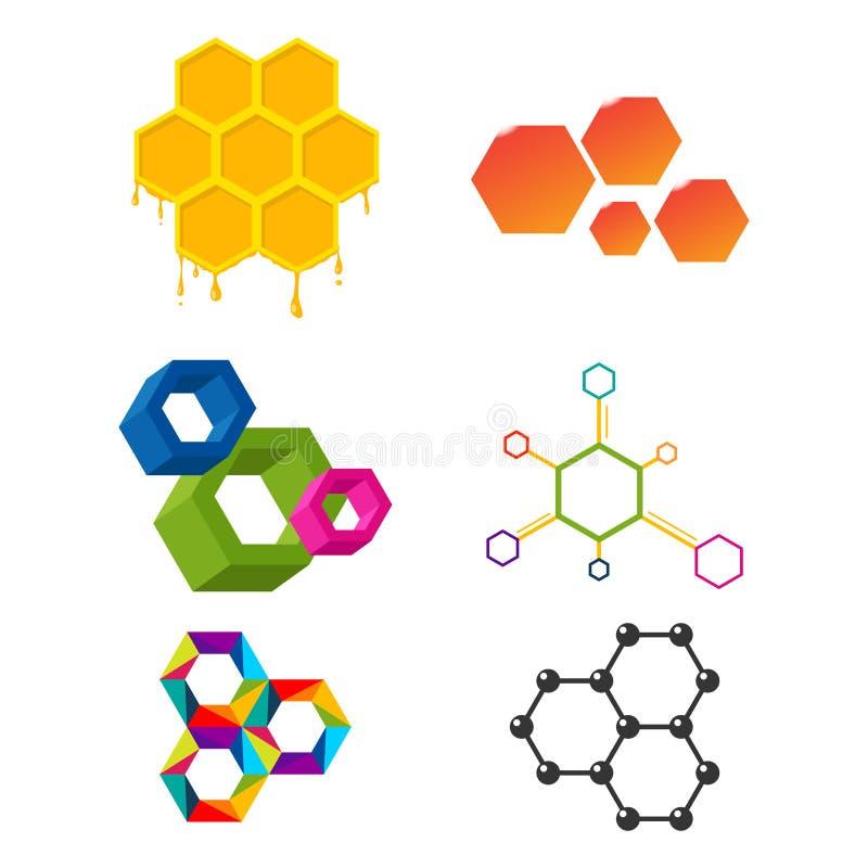 Vector linear hexagon design elements different honeycombs abstract geometric modern business technologies. stock illustration