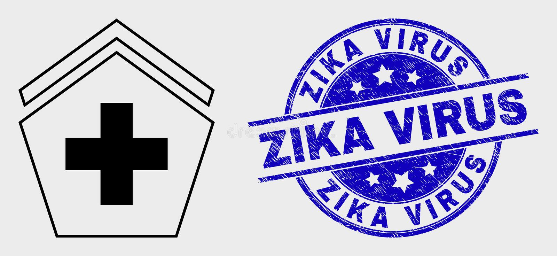 Vector Stroke Hospital Icon and Grunge Zika Virus Watermark royalty free illustration