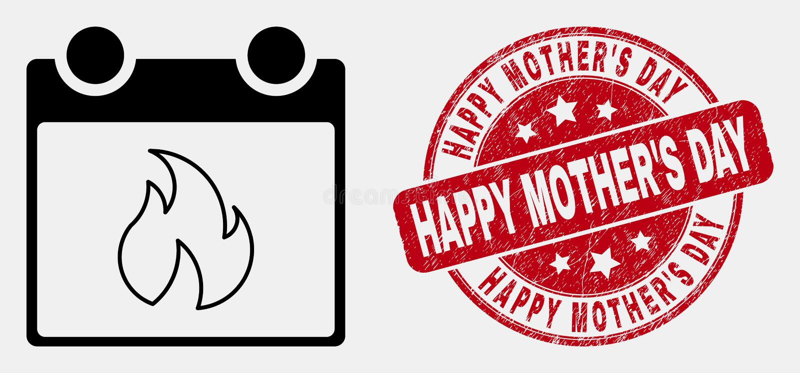 Vector Linear Hot Calendar Leaf Icon and Distress Happy Mother`S Day Stamp royalty free illustration