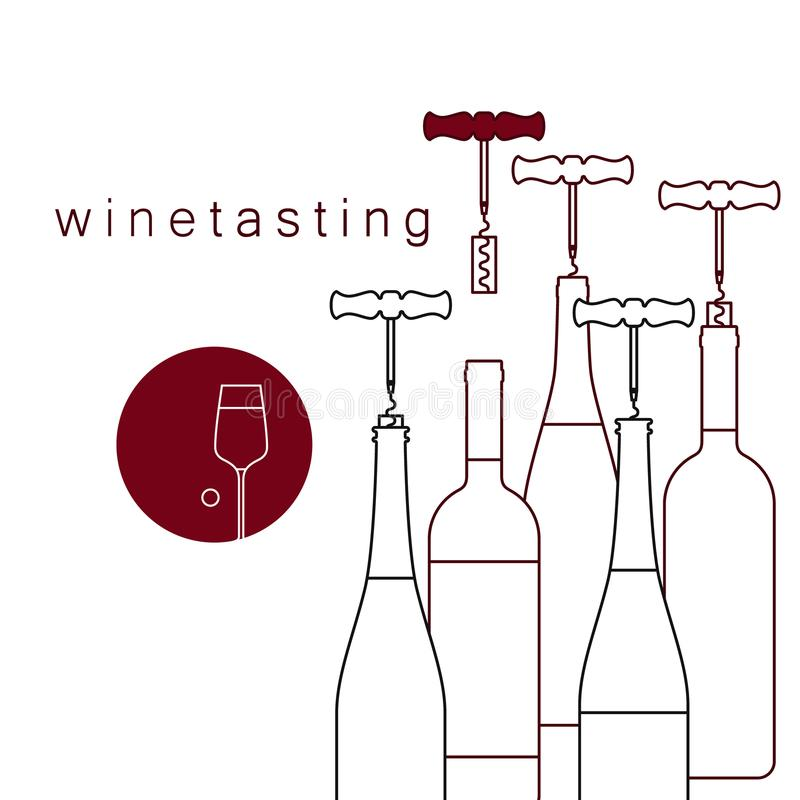 Bottles of wine and a corkscrew with a cork. Vector linear icon of wine tasting. stock photos