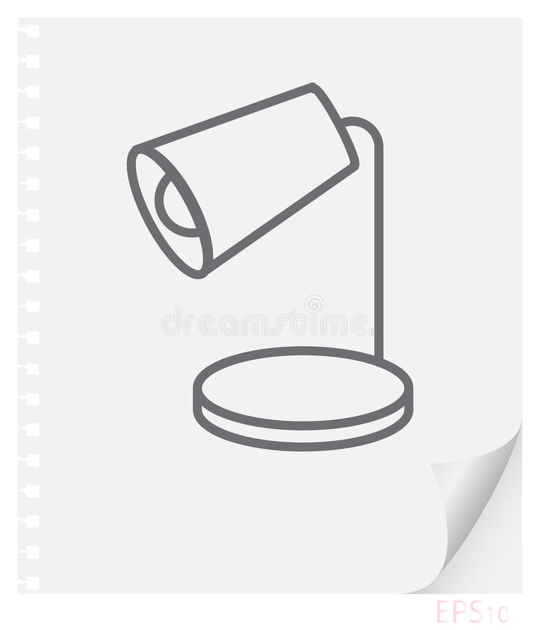 Vector linear illustration of a desk lamp on a sheet of paper with a curved corner and holes from springs, a school line icon vector illustration