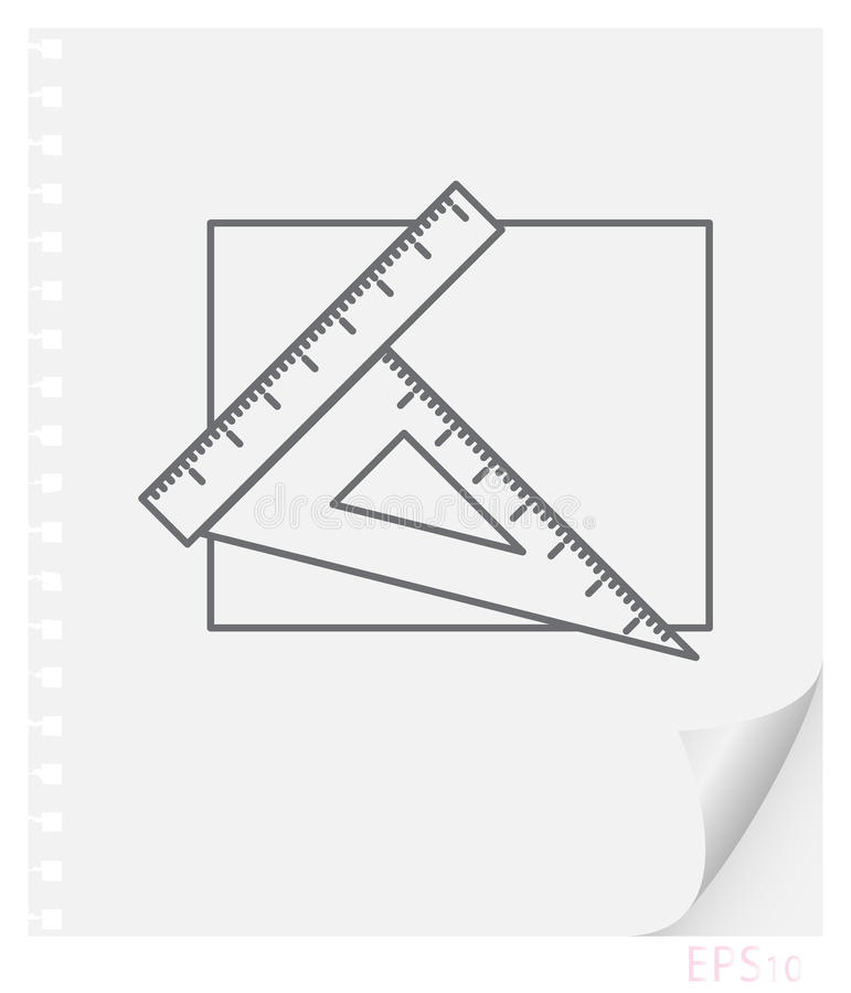 Vector linear illustration of drawing accessories on a sheet of paper with a curved corner and holes from springs, school line ico vector illustration