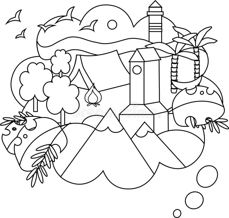 Vector linear illustration of the dream trip. royalty free illustration