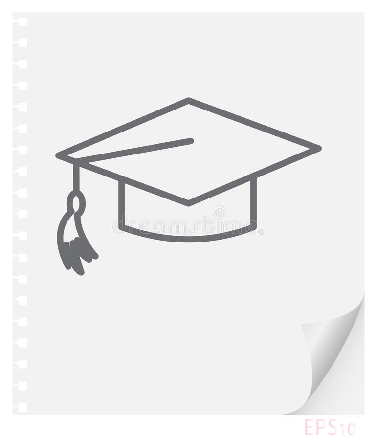 Vector linear illustration of a graduate schoolbag with a tassel on a sheet of paper with a curved corner and holes from springs, vector illustration
