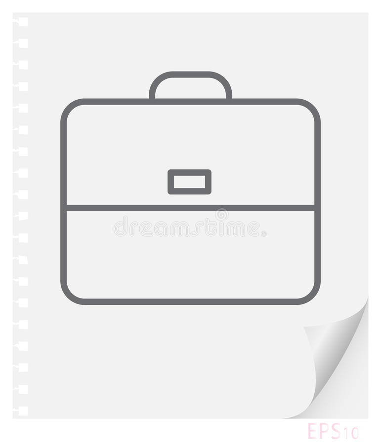 Vector linear illustration of school portfolio on a sheet of paper with a curved corner and holes from springs, school line icon stock illustration