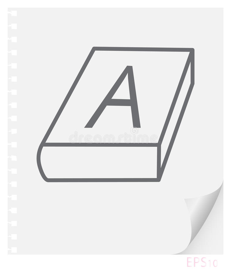 Vector linear illustration of a textbook on a sheet of paper with a curved corner and holes from springs, a school line icon royalty free illustration