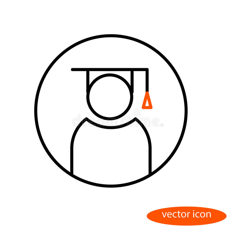 Vector linear image of a graduate of an educational institution in the hat of a bachelor, a flat line icon.  vector illustration
