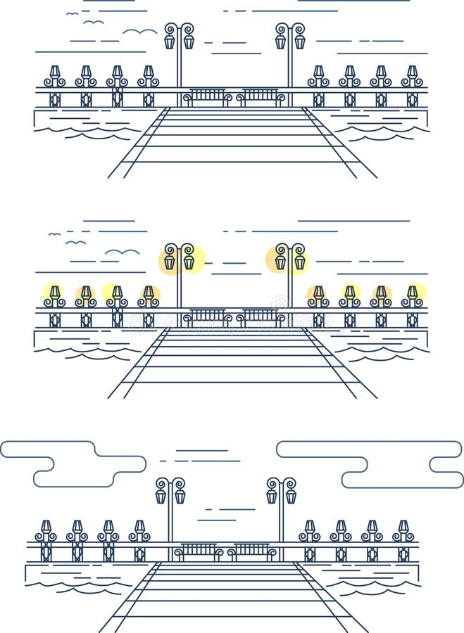 Vector linear image of the pier on the water stock illustration
