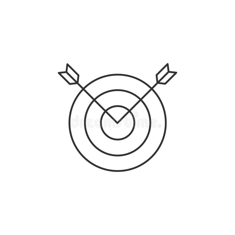 Vector linear image of two arrows sticking out of a target, a flat line icon. stock illustration