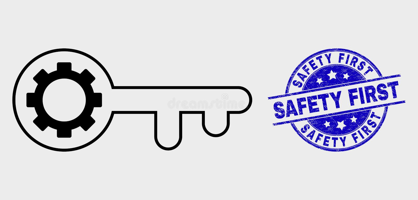 Vector Linear Key Gear Icon and Scratched Safety First Watermark royalty free illustration