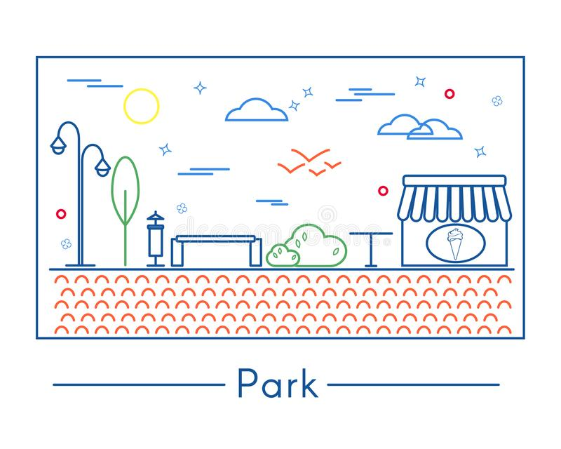 Linear city and park design elements royalty free illustration