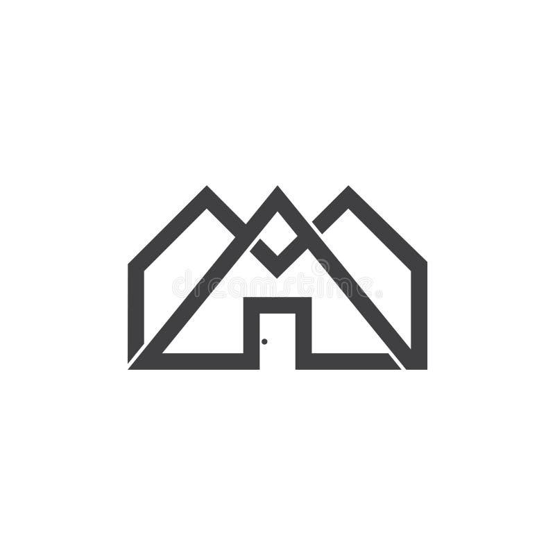 Vector linear ligado del logotipo de la forma del hogar del triángulo ilustración del vector