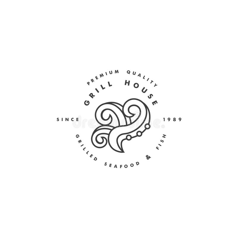 Vector linear logo design for safood grill house on white background. Grill octopus emblem or badge. vector illustration