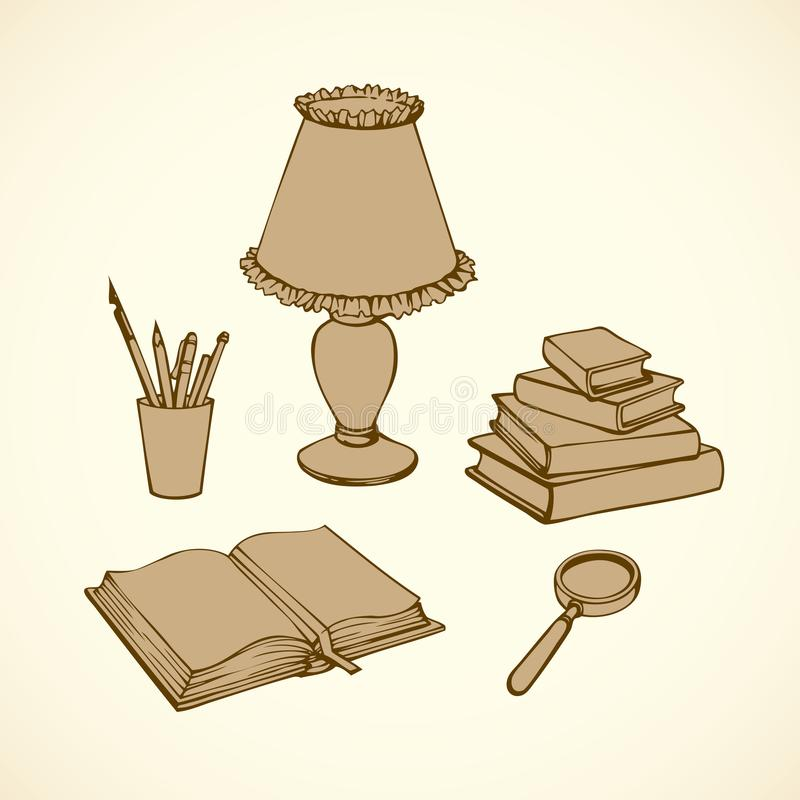 Vector still life. Books, magnifying glass, lamp and pens stock illustration