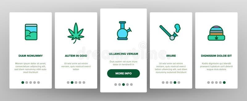 Vector linear Onboarding de la cultura de la marijuana que fuma stock de ilustración