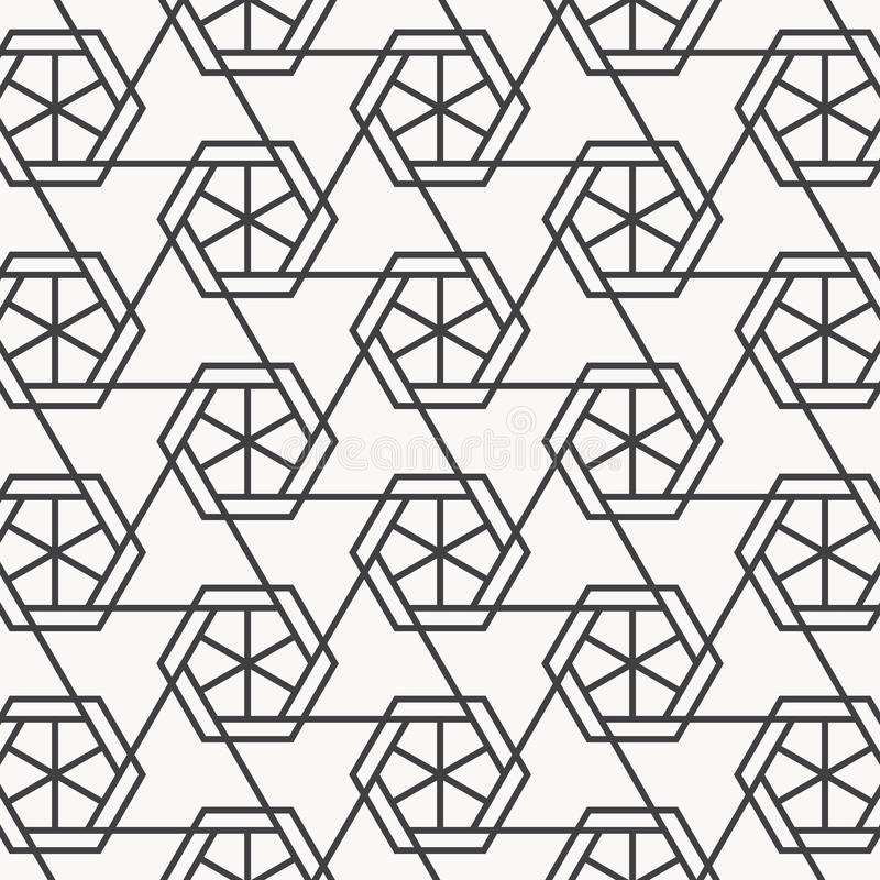 Vector linear pattern. Repeating geometric triangular grid on hexagon shape. stock illustration