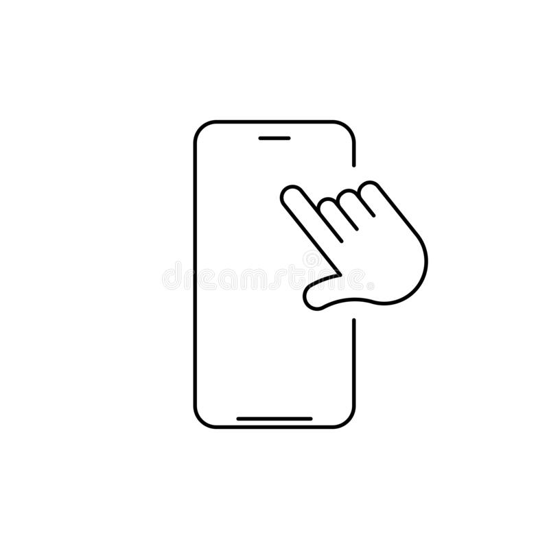 Vector linear phone and technology icon with hand tapping on screen. Touchscreen technology. Vector illustration isolated on white royalty free illustration