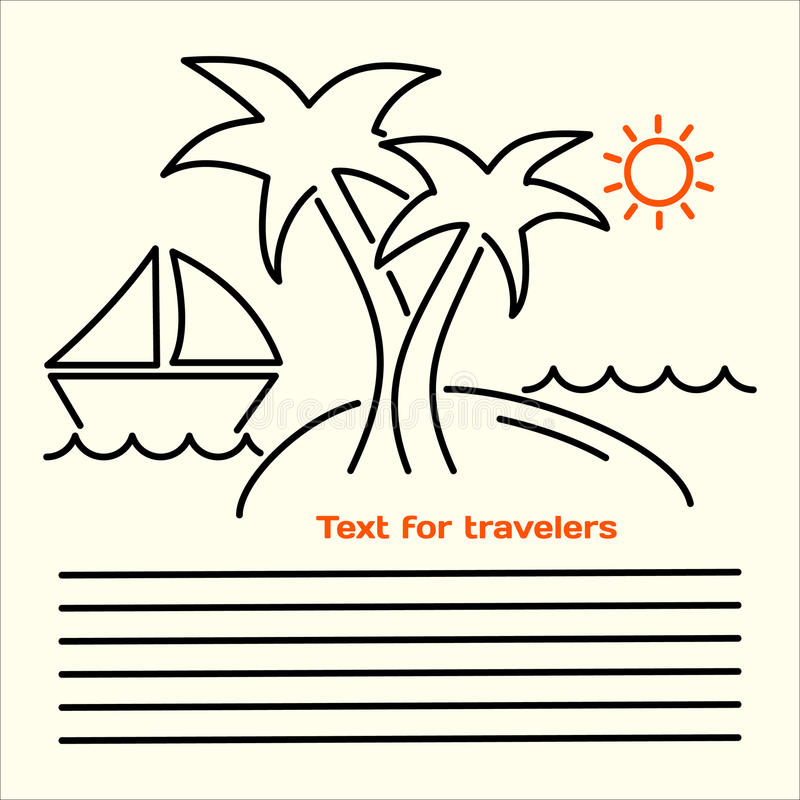 Vector linear picture of leaflets for tourists with the image of an island with palm trees, yachts, sea waves, orange sun and plac vector illustration