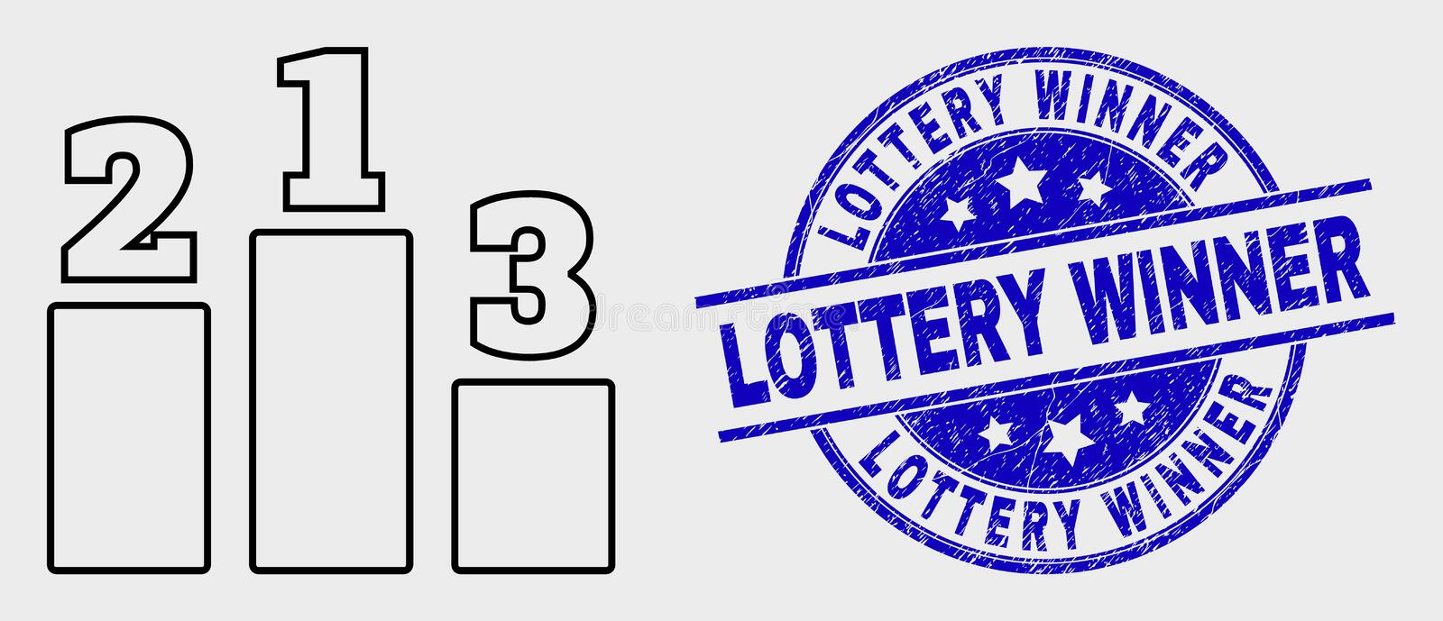 Vector Stroke Prize Places Icon and Distress Lottery Winner Stamp stock illustration