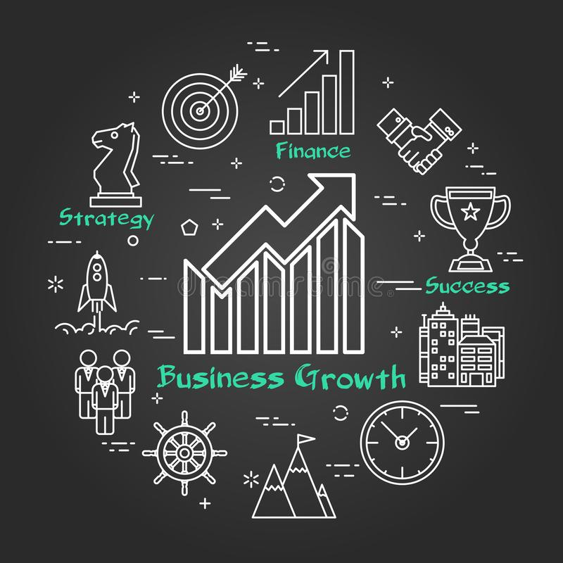 Chalk board - Business Growth - Arrow Up royalty free illustration
