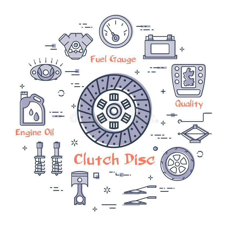 Vector linear round banner of clutch disc - car part stock illustration