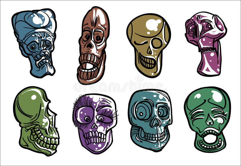 Vector linear Skulls. Eight vector linear skulls in cartoon style in different colors, with different expression stock illustration