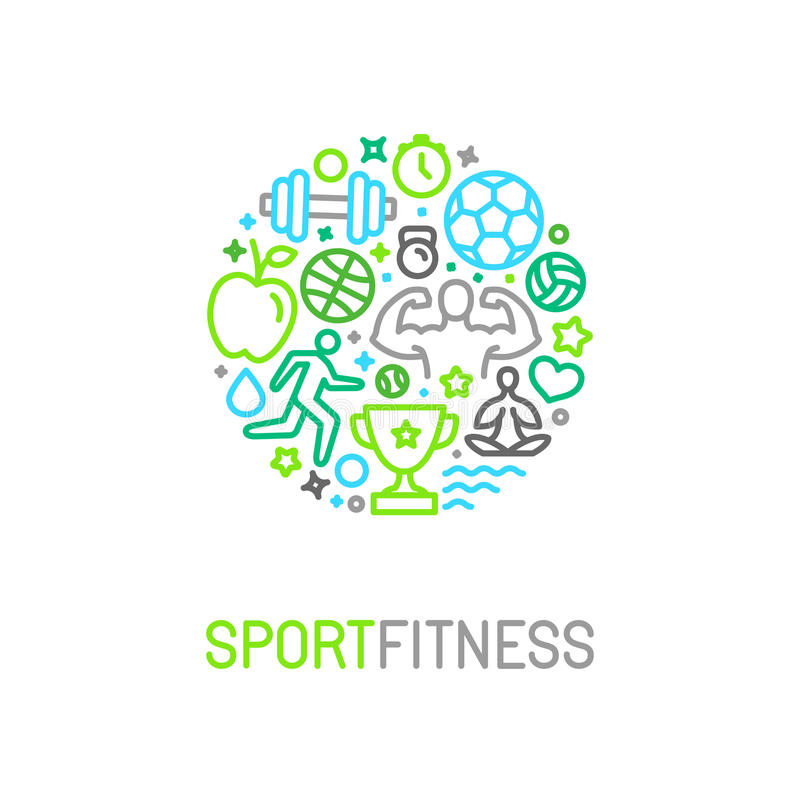 Vector linear sport and fitness logo design template stock illustration