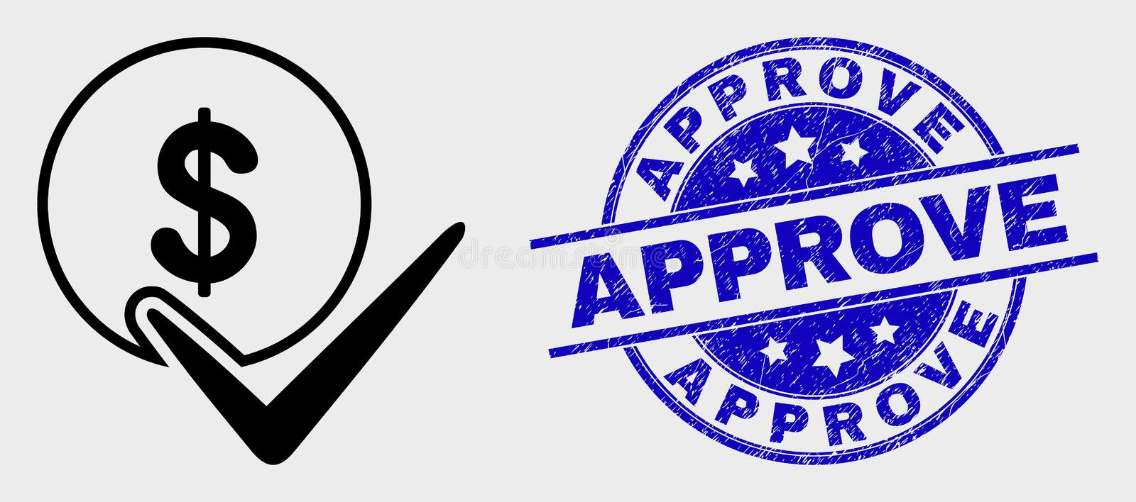 Vector Linear Valid Dollar Coin Icon and Distress Approve Watermark stock illustration