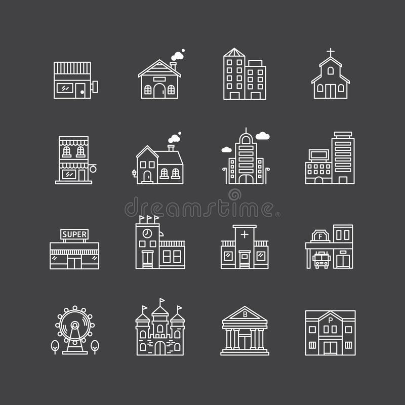 Vector linear web icons set - buildings collection of flat line. City design elements vector illustration