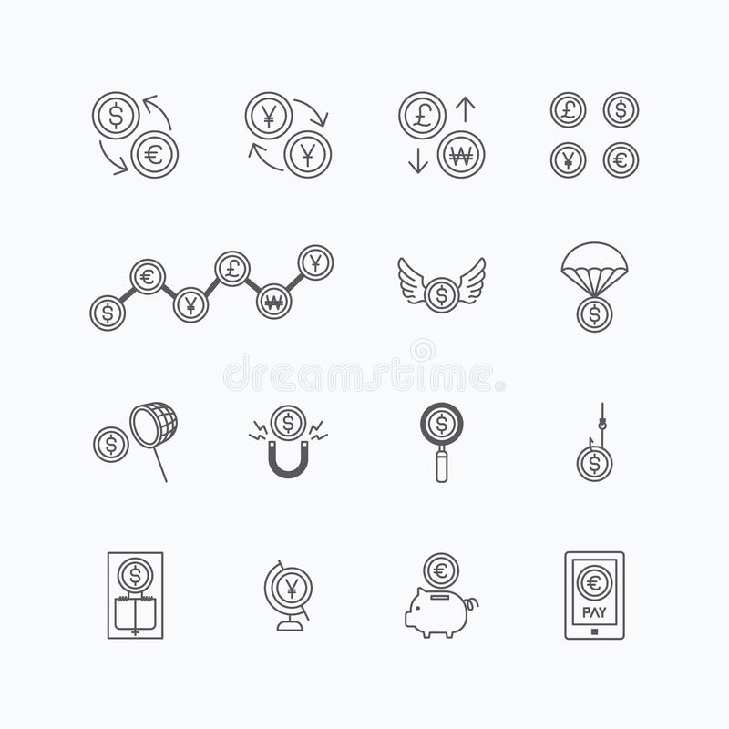 vector linear web icons set - business money currency coin concept collection of flat line design elements. royalty free illustration