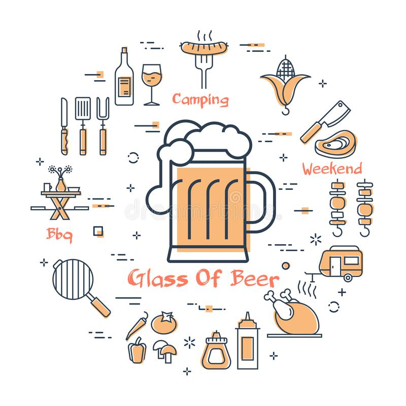 Yellow round concept with glass of beer. Vector linear yellow round concept of food and drink for camping .Glass of beer in the center and various line icons royalty free illustration