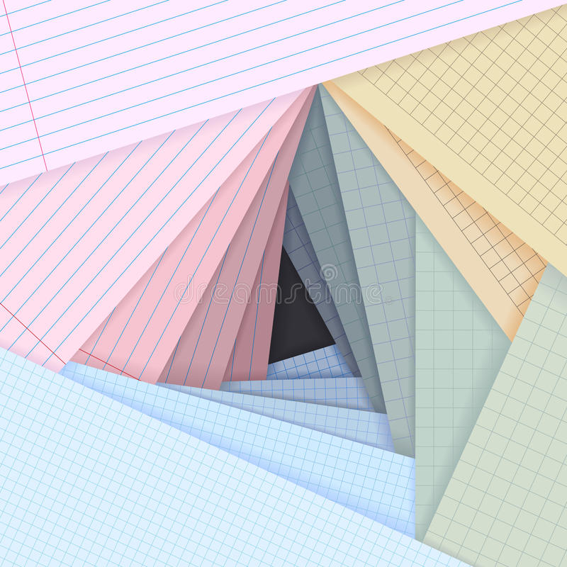 Vector Lined And Squared Paper Lie On Each Other. Stock Images